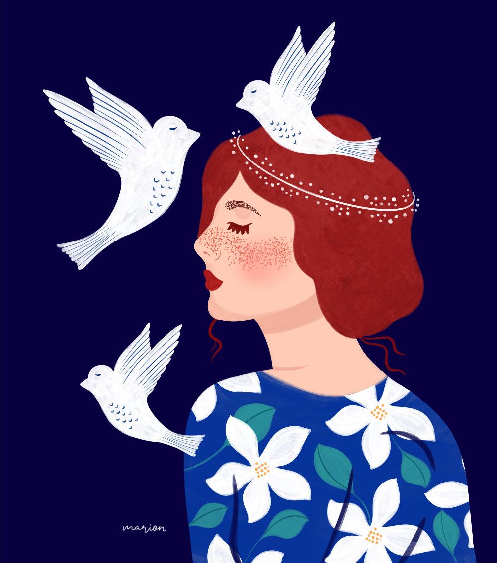 "Illustration ""Flowergirl"" par Paulina Chovela"