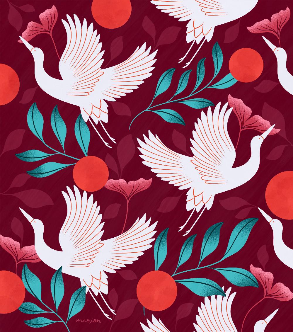 "Illustration ""Bird pattern"" par Paulina Chovela"