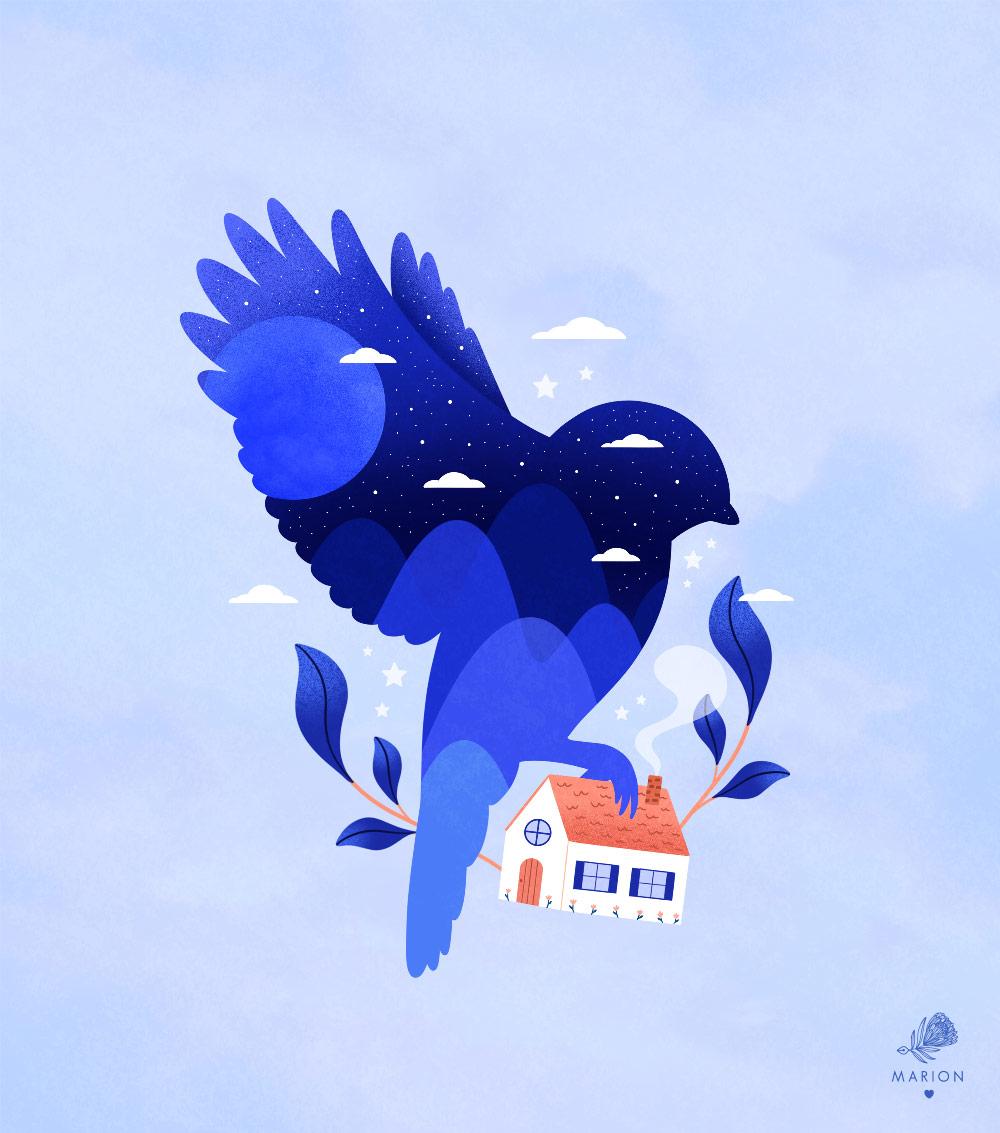 "Illustration ""Mailing twitter bird"" par Paulina Chovela"