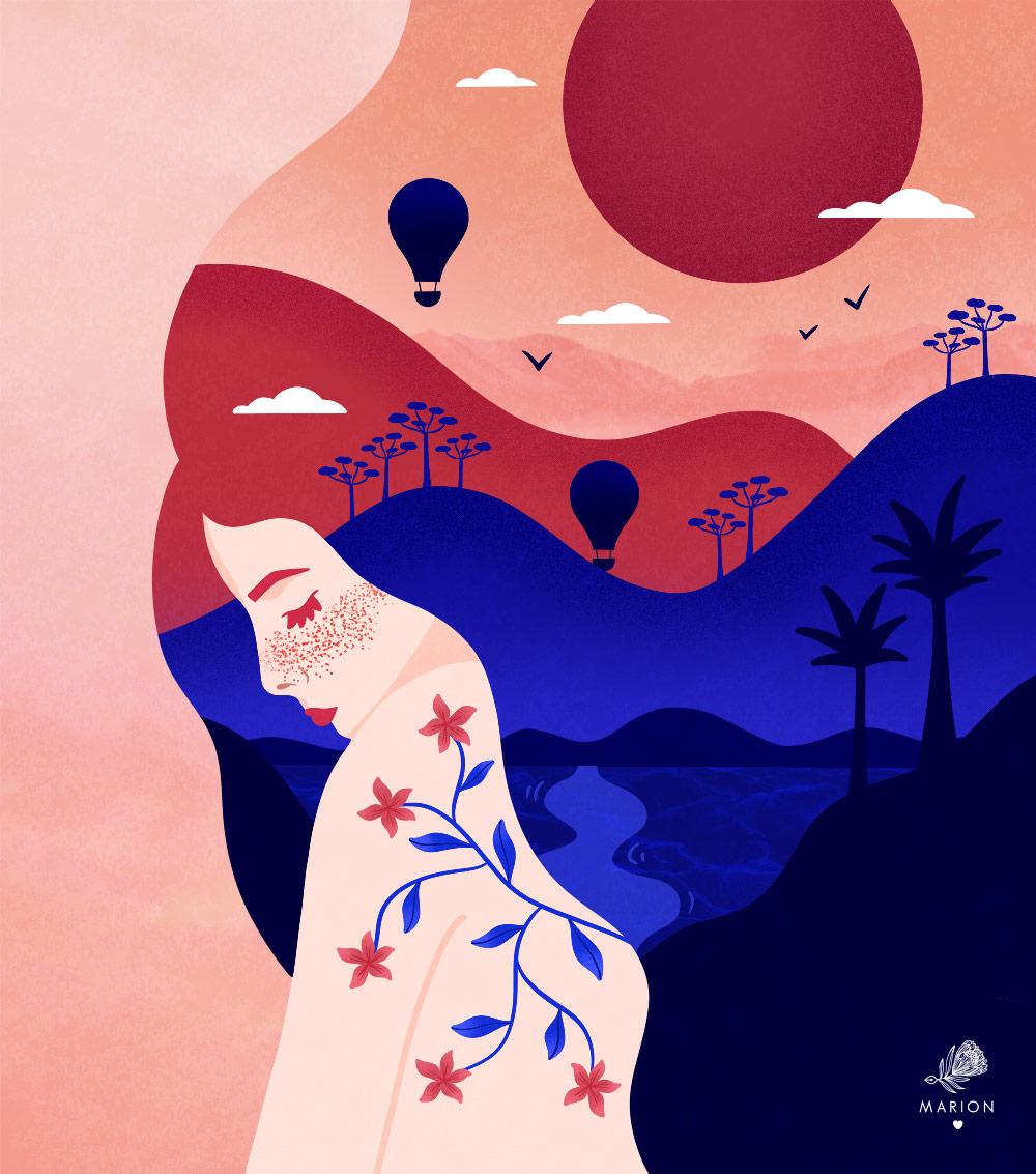 "Illustration ""Landscape girl"" par Paulina Chovela"
