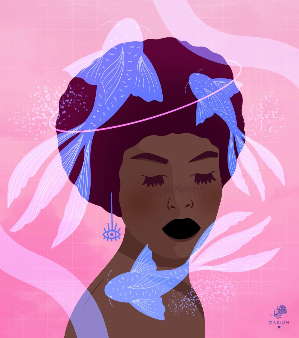 "Illustration ""Koï girl"" par Paulina Chovela"